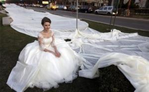 Свадебное платье рекордной длины